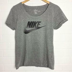 NIKE Basic Grey Swoosh Logo Tee Shirt